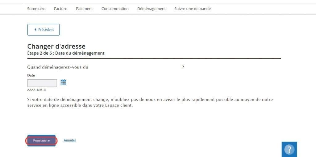 changement d'adresse Hydro-Québec Step 3