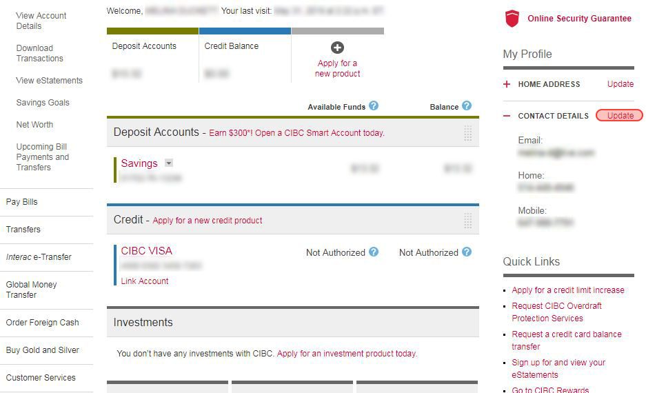 CIBC Address change screenshot