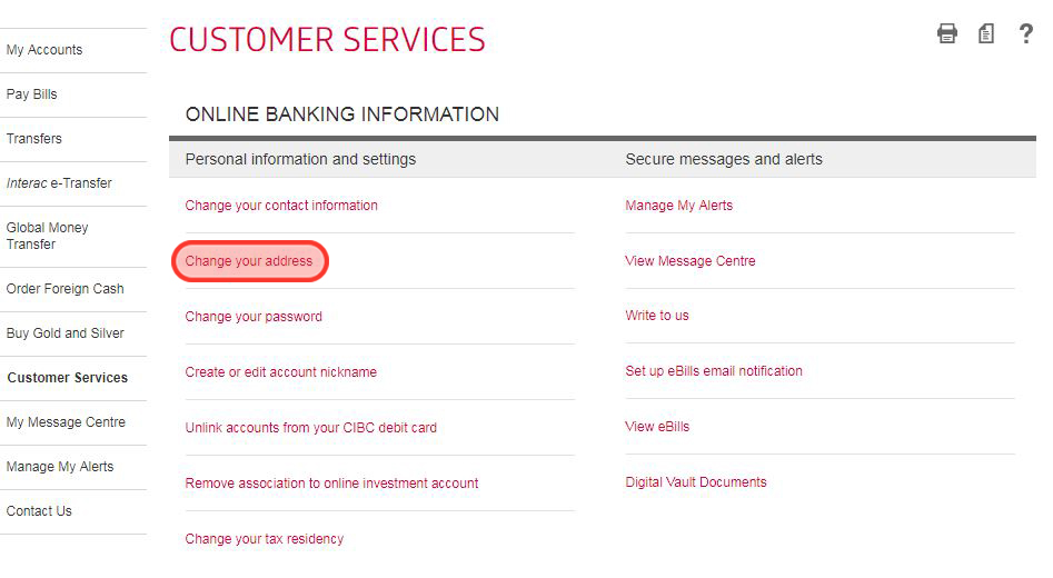CIBC Address change screenshot 2