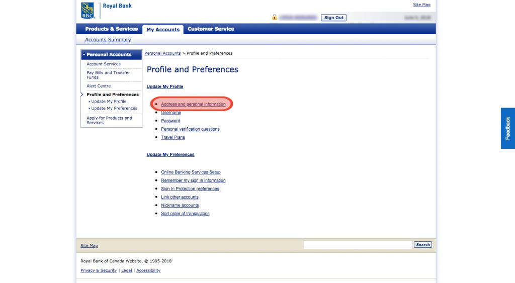 changement d'adresse RBC