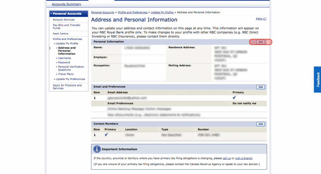 how to change my address with royal bank of canada movingwaldo