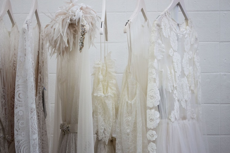 moving wedding dress and suits